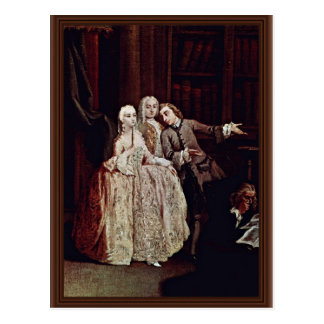 Visit The Library By Longhi Pietro (Best Quality) Postcard