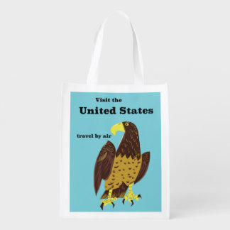 Visit the united States Travel poster Reusable Grocery Bag