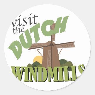 Visit The Windmills Round Sticker