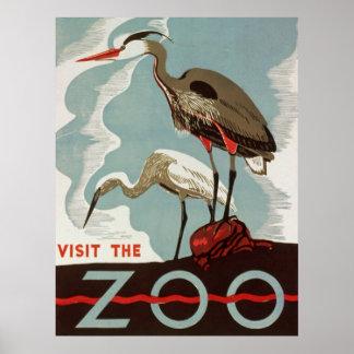 Visit The Zoo Vintage Tourism Poster