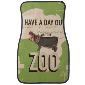 Visit The Zoo Vintage Travel Poster. Car Carpet