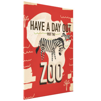 Visit The Zoo Zebra Vintage Travel Poster. Canvas Print