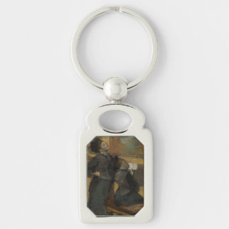 Visit to a Museum by Edgar Degas Silver-Colored Rectangle Keychain