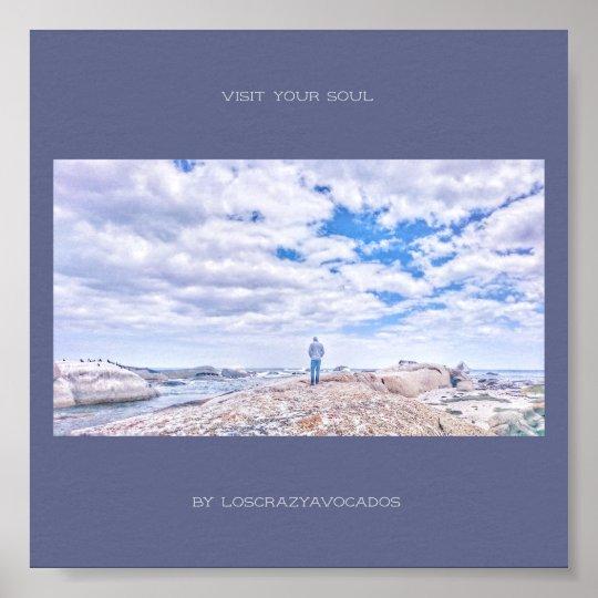 Visit Your Soul Ocean Sea View Man Figure Poster