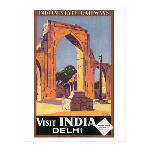 Visite indienne Inde Delhi de chemins de fer d'éta Carte Postale