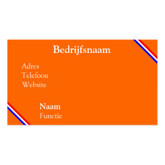 Visiting card orange with rood wit blauw line business card