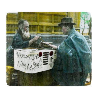Visiting the Roadside Fortune Teller Old Japan Cutting Board