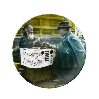 Visiting the Roadside Fortune Teller Old Japan Plate