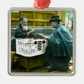 Visiting the Roadside Fortune Teller Old Japan Silver-Colored Square Ornament