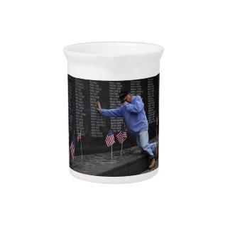Visiting The Vietnam Memorial Wall, Washington DC. Beverage Pitcher