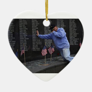 Visiting The Vietnam Memorial Wall, Washington DC. Ceramic Heart Ornament