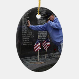 Visiting The Vietnam Memorial Wall, Washington DC. Ceramic Ornament