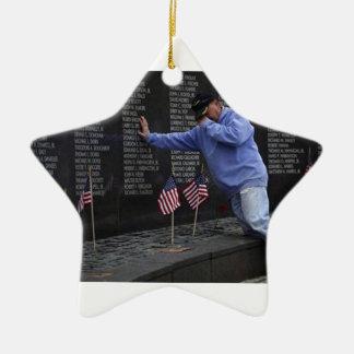 Visiting The Vietnam Memorial Wall, Washington DC. Ceramic Star Ornament