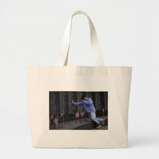 Visiting The Vietnam Memorial Wall, Washington DC. Large Tote Bag