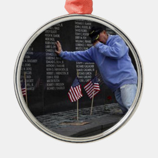 Visiting The Vietnam Memorial Wall, Washington DC. Silver-Colored Round Ornament