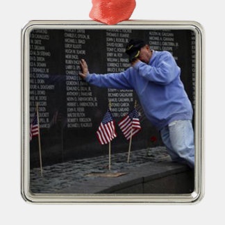 Visiting The Vietnam Memorial Wall, Washington DC. Silver-Colored Square Ornament