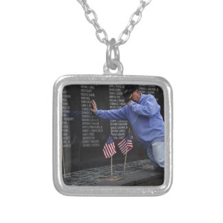 Visiting The Vietnam Memorial Wall, Washington DC. Silver Plated Necklace