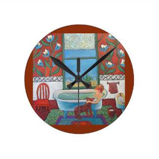 Visitor At Bathtime clock