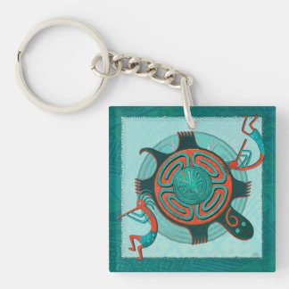 Visitors Anasazi Native Folk Art Double-Sided Square Acrylic Keychain