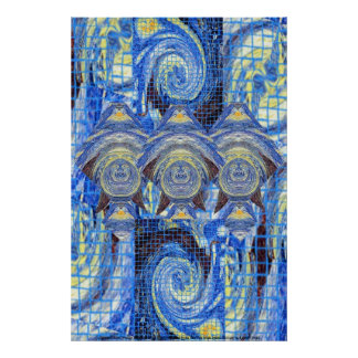 Visitors on a Starry Night Poster