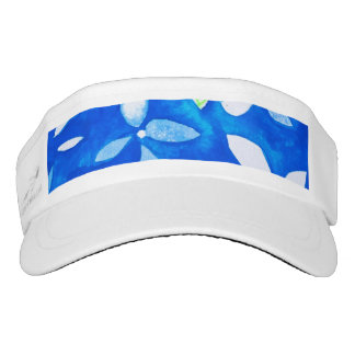 Visor with blue and white flowers
