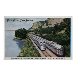 Vista Dome Twin Zephers Railroad Poster