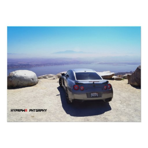 """""""Vista"""" Nissan GT-R on the Top of the World Poster"""