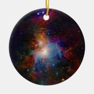 VISTA's infrared view of the Orion Nebula Round Ceramic Ornament