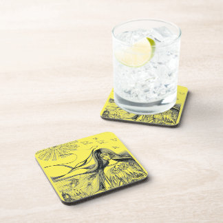 visual art (below glass) beverage coasters