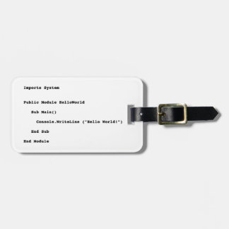 Visual Basic Hello World Greeting Luggage Tag