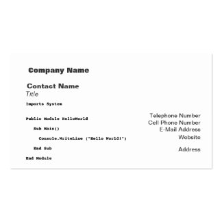 Visual Basic Hello World Greeting Pack Of Standard Business Cards