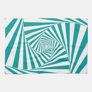 Visual Illusion Turquoise Kitchen Towel