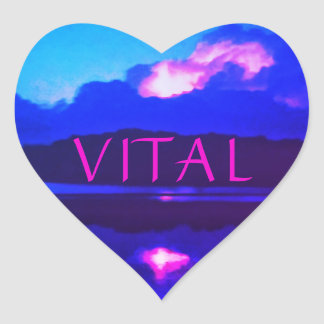 VITAL PINK LIGHTNING HEART STICKER