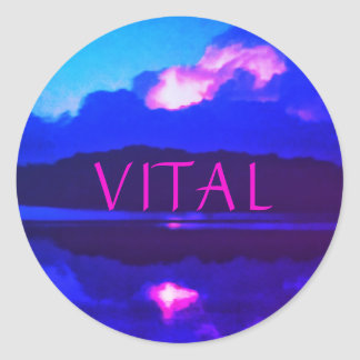 VITAL PINK LIGHTNING LARGE ROUND STICKER