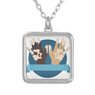 Vitiligo Awareness Silver Plated Necklace