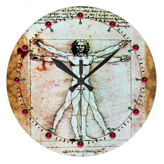 VITRUVIAN MAN Antique Parchment Red Ruby Gemstones Clock