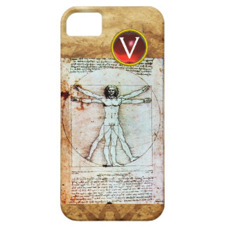VITRUVIAN MAN Antique Parchment Red Ruby Monogram Case For The iPhone 5