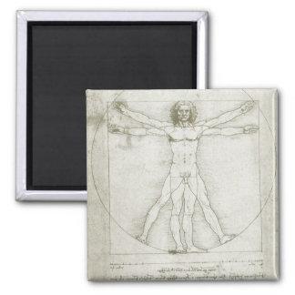 Vitruvian Man by Leonardo da Vinci Square Magnet