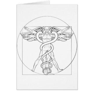 Vitruvian Man Caduceus Card