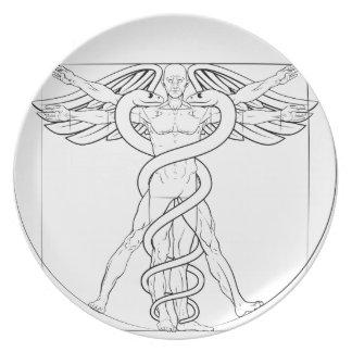 Vitruvian Man Caduceus Plates