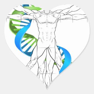 Vitruvian Man DNA Heart Sticker
