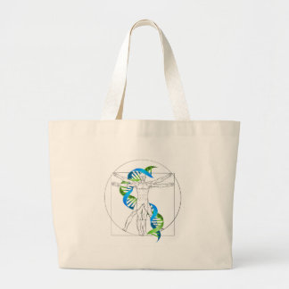 Vitruvian Man DNA Large Tote Bag
