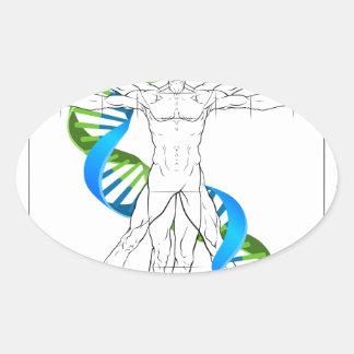 Vitruvian Man DNA Oval Sticker