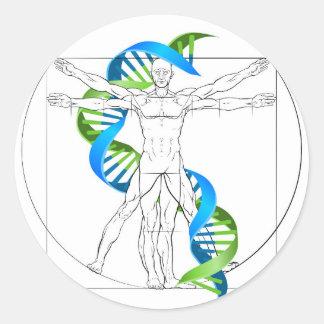 Vitruvian Man DNA Round Sticker