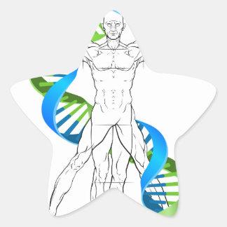 Vitruvian Man DNA Star Sticker