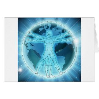 Vitruvian Man Earth Globe World Background Card