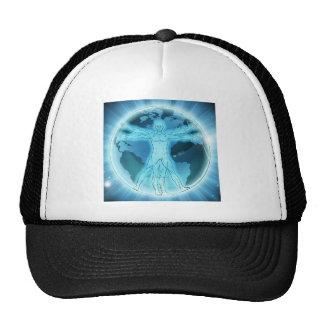 Vitruvian Man Earth Globe World Background Trucker Hat