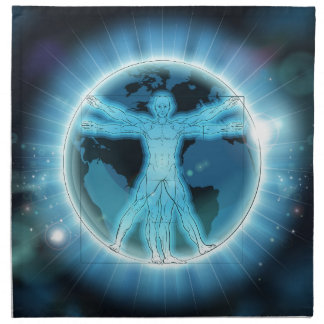 Vitruvian Man Earth World Globe Background Napkin