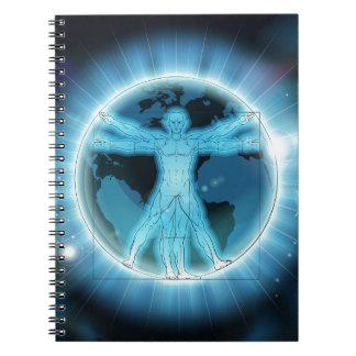 Vitruvian Man Earth World Globe Background Notebook