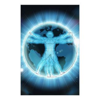Vitruvian Man Earth World Globe Background Stationery
